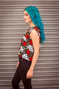 Shell Top in Skull and Roses Print -  - Megan Crook