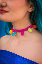 Load image into Gallery viewer, Choker Necklace in Rainbow Pompom - Accessories - Megan Crook