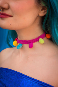 Choker Necklace in Rainbow Pompom - Accessories - Megan Crook