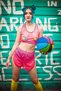 Mesh Sport Shorts in Pink - Shorts - Megan Crook