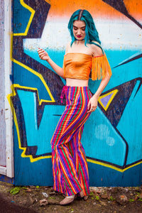 Corset Front Flares in Rainbow Stripes - Trouser - Megan Crook