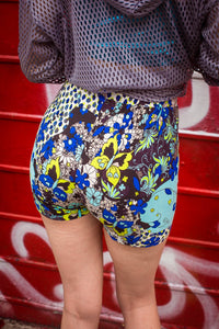 High Waisted Shorts in Blue Retro Print - Shorts - Megan Crook