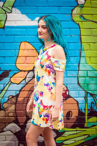 Cold Shoulder Dress in World Map Watercolour Print - Dress - Megan Crook