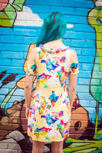 Load image into Gallery viewer, Cold Shoulder Dress in World Map Watercolour Print - Dress - Megan Crook