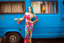 Load image into Gallery viewer, Bell Sleeve Bandeau in Rainbow Watercolour Print - Top - Megan Crook