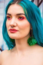 Load image into Gallery viewer, Pompom Earrings in Metallic Green - Accessories - Megan Crook