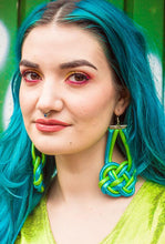 Load image into Gallery viewer, Celtic Knot Earrings in Green and Turquoise - Accessories - Megan Crook