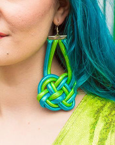 Celtic Knot Earrings in Green and Turquoise - Accessories - Megan Crook