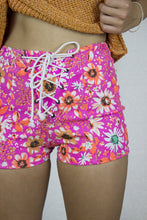 Load image into Gallery viewer, Neon Corset Shorts in Pink Stretch Denim - Shorts - Megan Crook