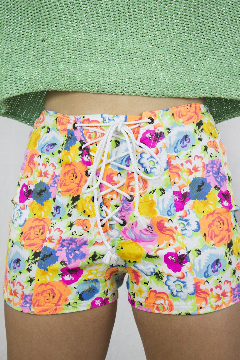 Neon Corset Shorts in Multicoloured Floral Stretch Denim - Shorts - Megan Crook