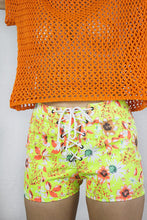 Load image into Gallery viewer, Neon Corset Shorts in Green Stretch Denim - Shorts - Megan Crook