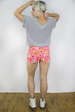 Load image into Gallery viewer, Neon Corset Shorts in Orange Stretch Denim - Shorts - Megan Crook