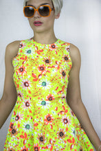 Load image into Gallery viewer, Cut Away Skater Dress in Neon Green Floral Print - Dress - Megan Crook