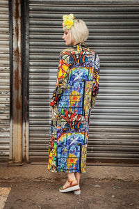 Jersey Maxi Cardi Stained Glass Digital Print Jersey - Cardigan - Megan Crook