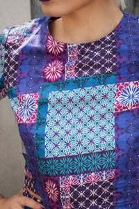 Co-ord Set in Blue and Purple Patchwork Tribal Print - Shirt - Megan Crook