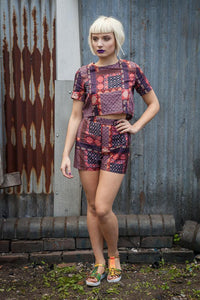 Co-ord Set in Plum and Orange Patchwork Tribal Print - Shirt - Megan Crook
