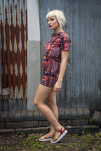 Load image into Gallery viewer, Co-ord Set in Plum and Orange Patchwork Tribal Print - Shirt - Megan Crook
