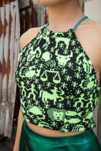 Load image into Gallery viewer, Fair Isle Halter in Neon Yellow Astronomy Pattern - Top - Megan Crook