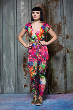 Load image into Gallery viewer, Cross Front Jumpsuit in Rainbow Watercolour Digital Print Jersey - Jumpsuit - Megan Crook