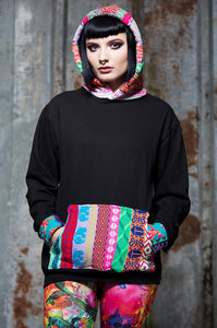 Fair Isle Hoodie in Black - Jumper - Megan Crook