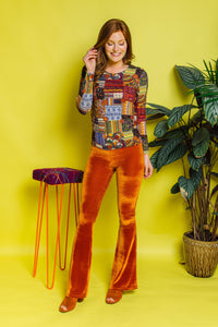 Flares- Velvet- Orange - Trouser - Megan Crook