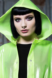 Rain Coat in Transparent Neon Yellow - Coat - Megan Crook