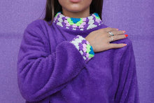 Load image into Gallery viewer, Crochet Trim Jumper in Purple
