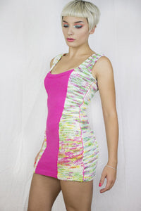 Knit Panel Dress in Pink and Handpainted Yarn - Dress - Megan Crook