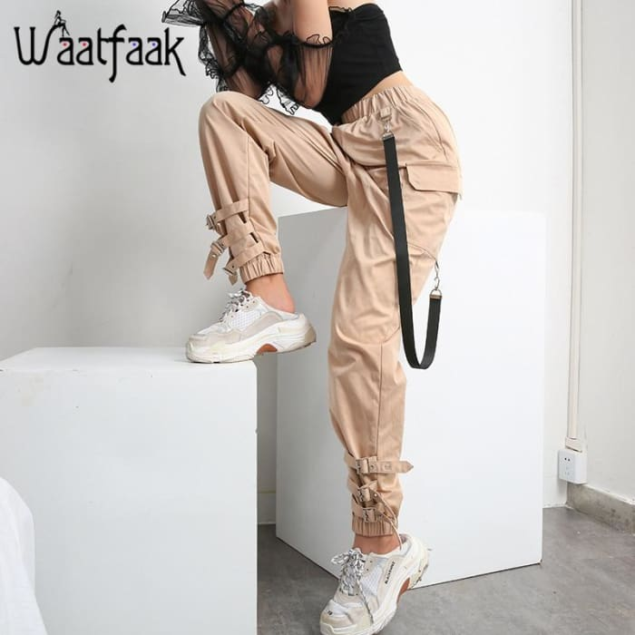 Buckle Pantalon Casual Elastic Pencil Pant [Iamfashion_Inc]