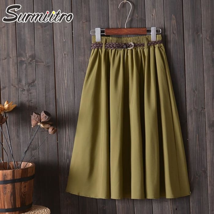 Elegant Summer Korean Elegant Midi Skirt [Iamfashion_Inc]