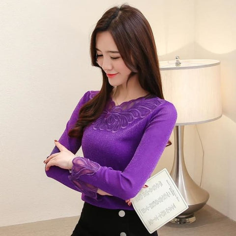 67a183ed7a79a9 Fashion womens tops and blouses 2019 plus size lace blouse shirt sexy  v-neck women