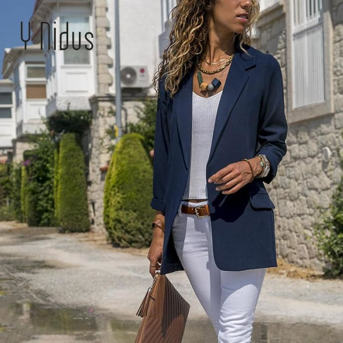 Long Sleeve Blazer Office Lady Jacket Suit [Iamfashion_Inc]
