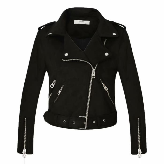 Long Sleeve Motorcycle Leather Jacket Coat [Iamfashion_Inc]
