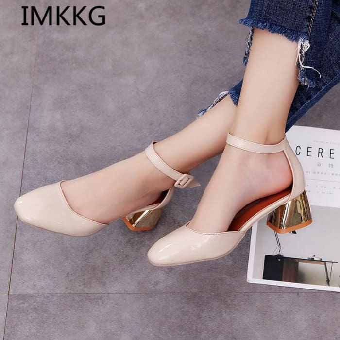 Mid Heels Thick Heel Sandals Shoes [Iamfashion_Inc]