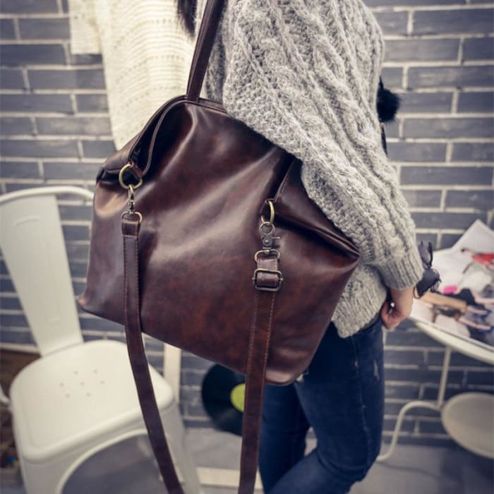 PU Shoulder Three Vintage Solid Zipper Soft Handbag [Iamfashion_Inc]