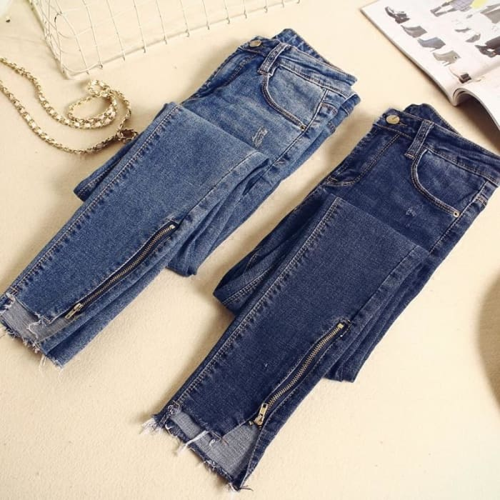 Vintage Zipper Waist Pantalon Pencil Pants [Iamfashion_Inc]