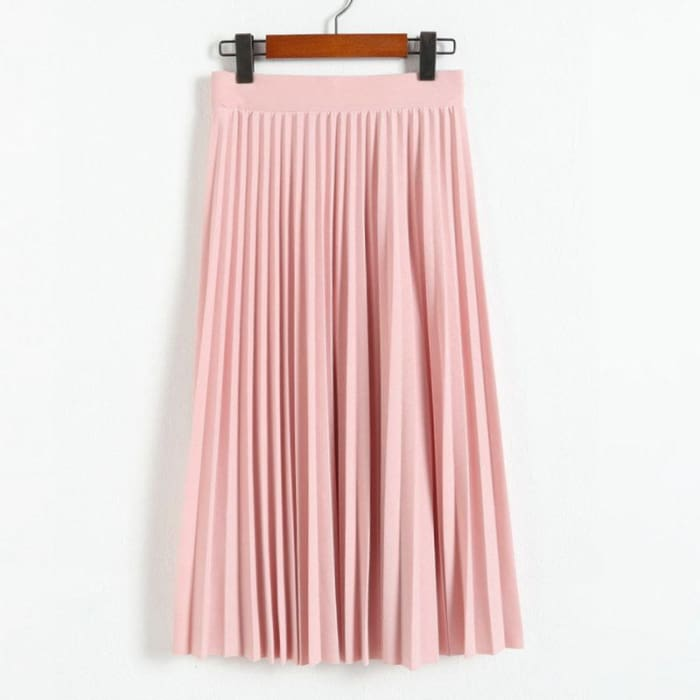 Waist Pleated Half Length Spring Elastic Skirt [Iamfashion_Inc]