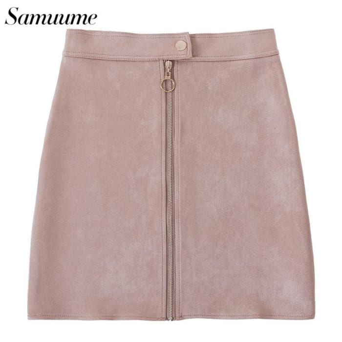 Zipped Waist Button Mini Short Skirt [Iamfashion_Inc]