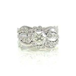 Fire-Rose Diamond Wedding Set