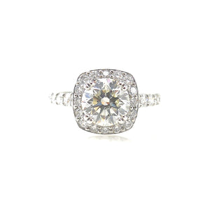 4 prong set diamond halo custom engagement ring