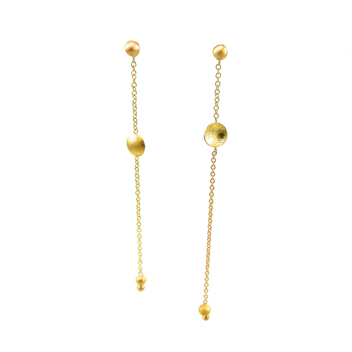 Gold Chain and Disc Earrings