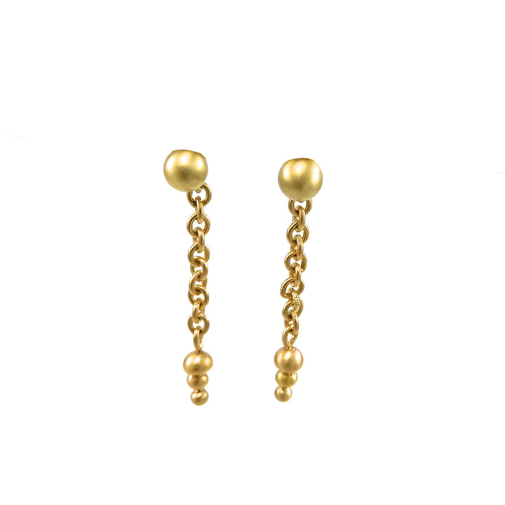Yellow Gold Heavy Chain Dangle Earrings