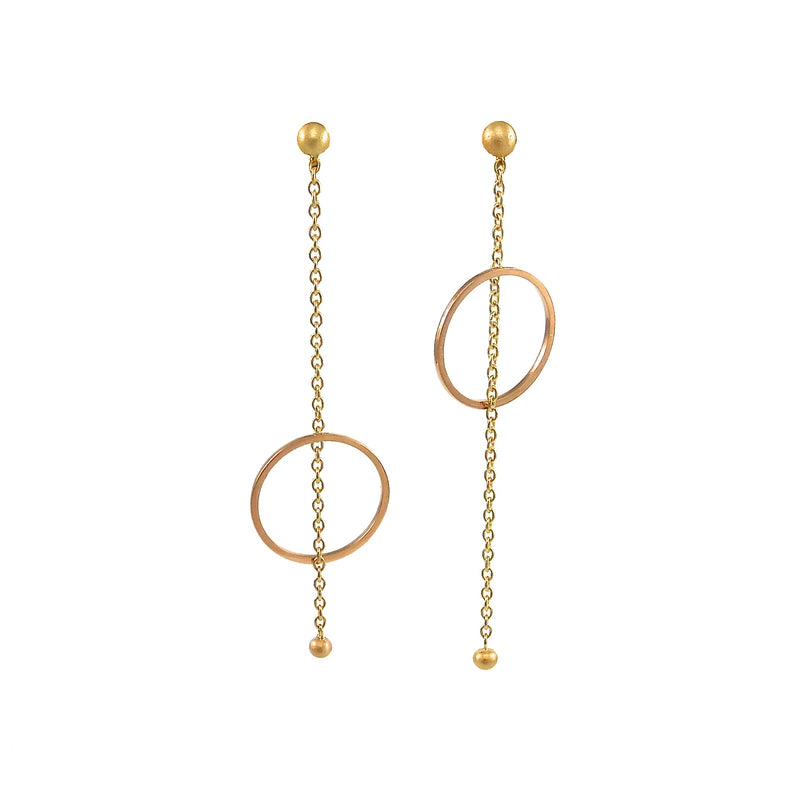 Yellow and Rose Gold Circle Earrings