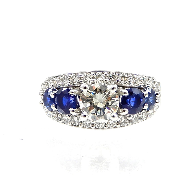 Sapphire Accented Diamond Ring