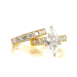 solitaire marquise diamond ring with diamond wedding band set