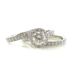 custom wedding set diamond bands and halo engagement ring
