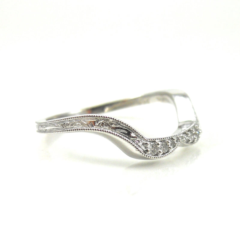 custom diamond wedding band with filigree
