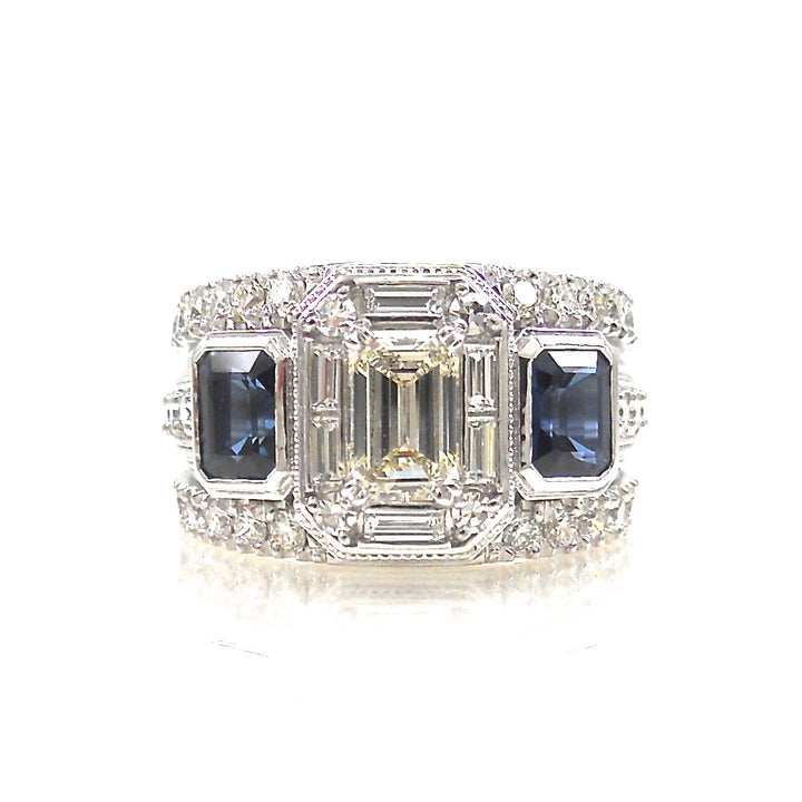 Emerald Cut Diamond and Sapphire Dream Ring