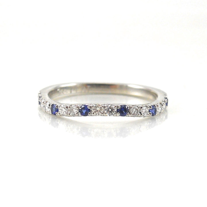 diamond and sapphire eternity band curved