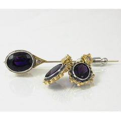 Amethyst Earring & Pin Set